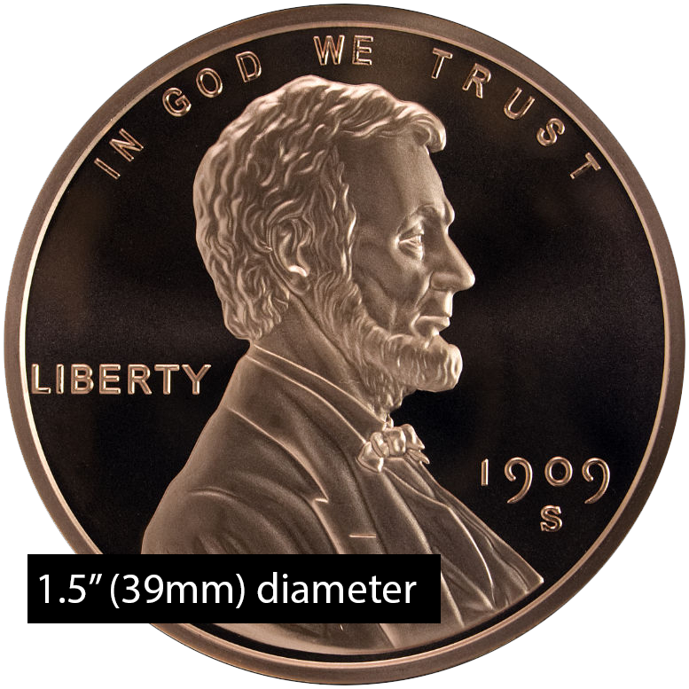 1 oz Copper Lincoln Wheat Penny - Dollar Size (39mm)