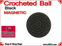 Black Crochet Ball | 1 Inch (25mm) | Magnetic