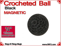 Black Crochet Ball | 3/4 Inch (19mm) | Magnetic