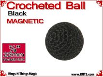 Black Crochet Ball | 7/8 Inch (22mm) | Magnetic