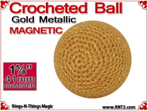 Gold Metallic Crochet Ball | 1 5/8 Inch (41mm) | Magnetic