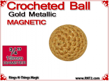 Gold Metallic Crochet Ball | 3/4 Inch (19mm) | Magnetic