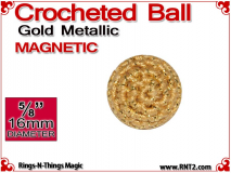 Gold Metallic Crochet Ball | 5/8 Inch (16mm) | Magnetic