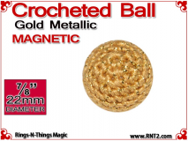 Gold Metallic Crochet Ball | 7/8 Inch (22mm) | Magnetic