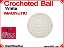 White Crochet Ball | 1 Inch (25mm) | Magnetic