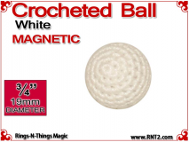 White Crochet Ball | 3/4 Inch (19mm) | Magnetic