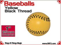 Yellow Leather Baseball | 1 Inch (25mm) by Leo Smetsers