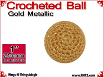 Gold Metallic Crochet Ball | 1 Inch (25mm)