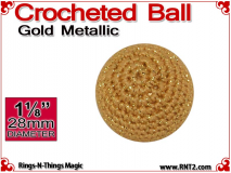 Gold Metallic Crochet Ball | 1 1/8 Inch (28mm)