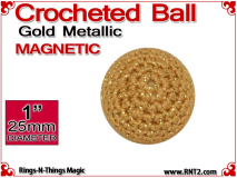 Gold Metallic Crochet Ball | 1 Inch (25mm) | Magnetic