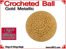 Gold Metallic Crochet Ball | 1 3/8 Inch (35mm)