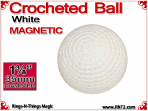 White Crochet Ball | 1 3/8 Inch (35mm) | Magnetic