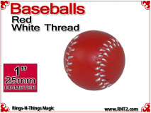 Red Leather Baseball | 1 Inch (25mm) by Leo Smetsers