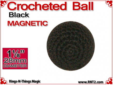 Black Crochet Ball | 1 1/8 Inch (28mm) | Magnetic