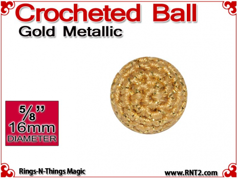 Gold Metallic Crochet Ball | 5/8 Inch (16mm)