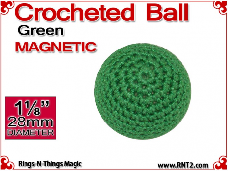 Green Crochet Ball | 1 1/8 Inch (28mm) | Magnetic