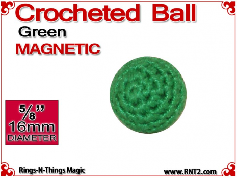 Green Crochet Ball | 5/8 Inch (16mm) | Magnetic