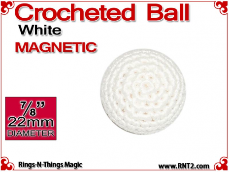 White Crochet Ball | 7/8 Inch (22mm) | Magnetic