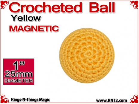 Yellow Crochet Ball | 1 Inch (25mm) | Magnetic