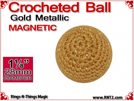 Gold Metallic Crochet Ball | 1 1/8 Inch (28mm) | Magnetic