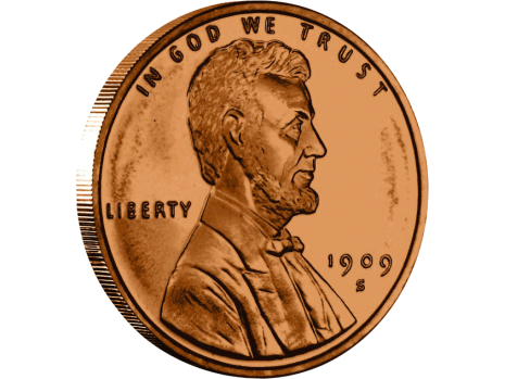 Copper Lincoln Wheat Penny - 39mm - obverse