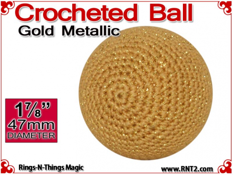 Gold Metallic Crochet Ball | 1 7/8 Inch (47mm)