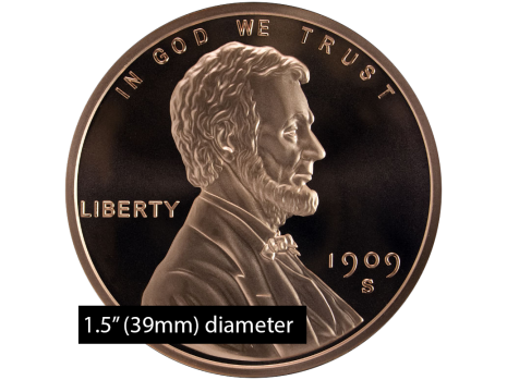 1 Oz Copper Lincoln Wheat Penny Dollar Size 39mm